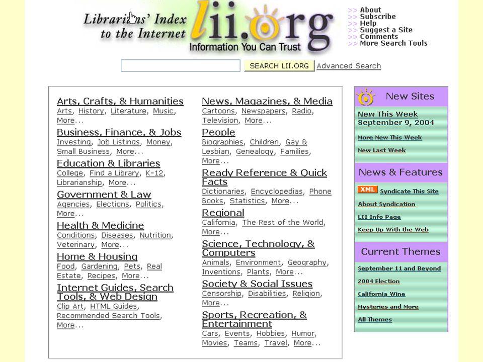 Even Flood: Informasjonssøking, Elverum 28/4/2005 108 Librarians' Index to the Internet