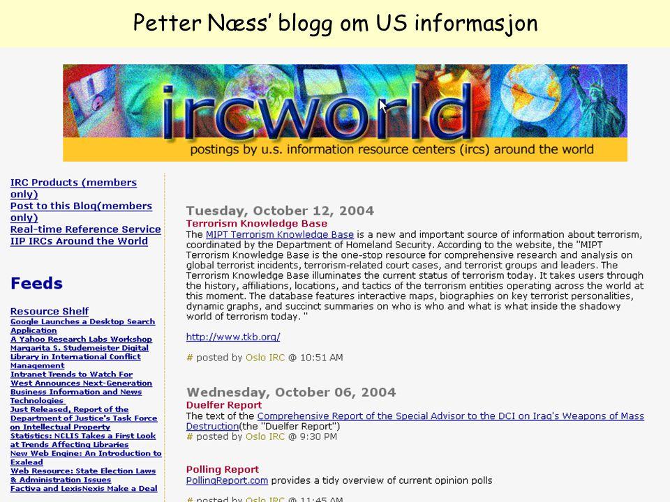 Even Flood: Informasjonssøking, Elverum 28/4/2005 129 Petter Næss' blogg om US informasjon