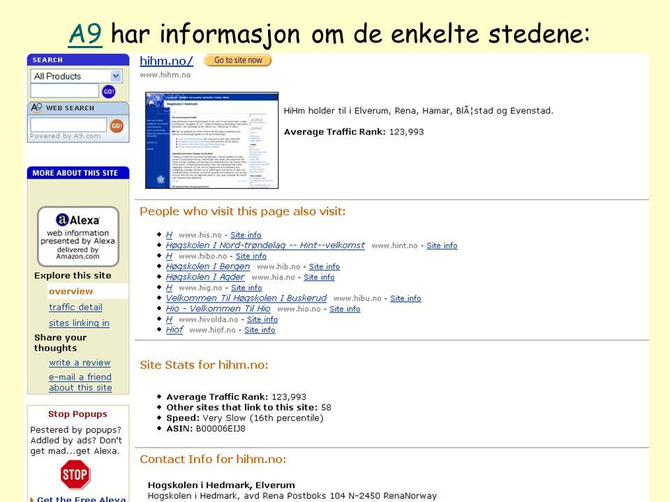Even Flood: Informasjonssøking, Elverum 28/4/2005 84 A9A9 har informasjon om de enkelte stedene: