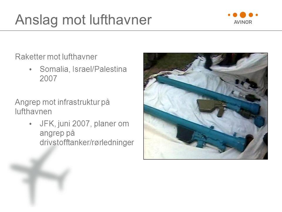Anslag mot lufthavner Raketter mot lufthavner • Somalia, Israel/Palestina 2007 Angrep mot infrastruktur på lufthavnen • JFK, juni 2007, planer om angrep på drivstofftanker/rørledninger