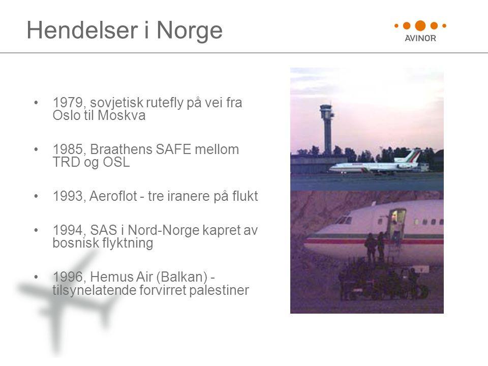 Hendelser i Norge •1979, sovjetisk rutefly på vei fra Oslo til Moskva •1985, Braathens SAFE mellom TRD og OSL •1993, Aeroflot - tre iranere på flukt •
