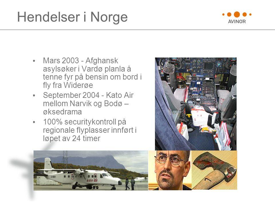 Hendelser i Norge • Mars 2003 - Afghansk asylsøker i Vardø planla å tenne fyr på bensin om bord i fly fra Widerøe • September 2004 - Kato Air mellom N