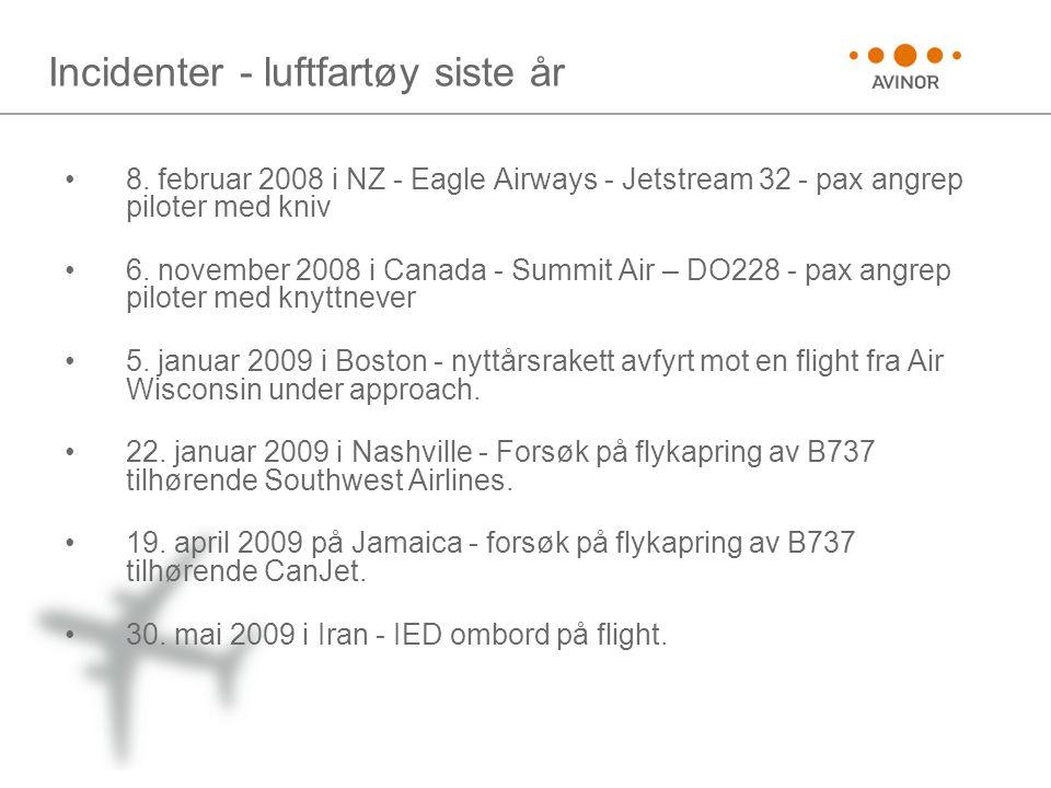 Incidenter - luftfartøy siste år •8. februar 2008 i NZ - Eagle Airways - Jetstream 32 - pax angrep piloter med kniv •6. november 2008 i Canada - Summi