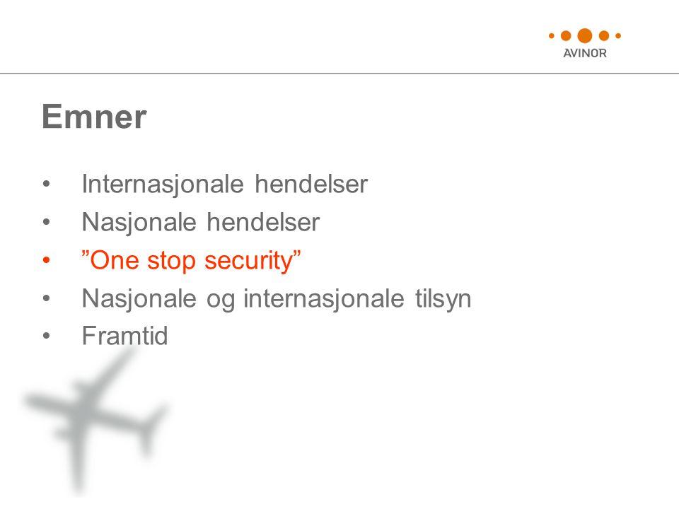 Emner •Internasjonale hendelser •Nasjonale hendelser • One stop security •Nasjonale og internasjonale tilsyn •Framtid