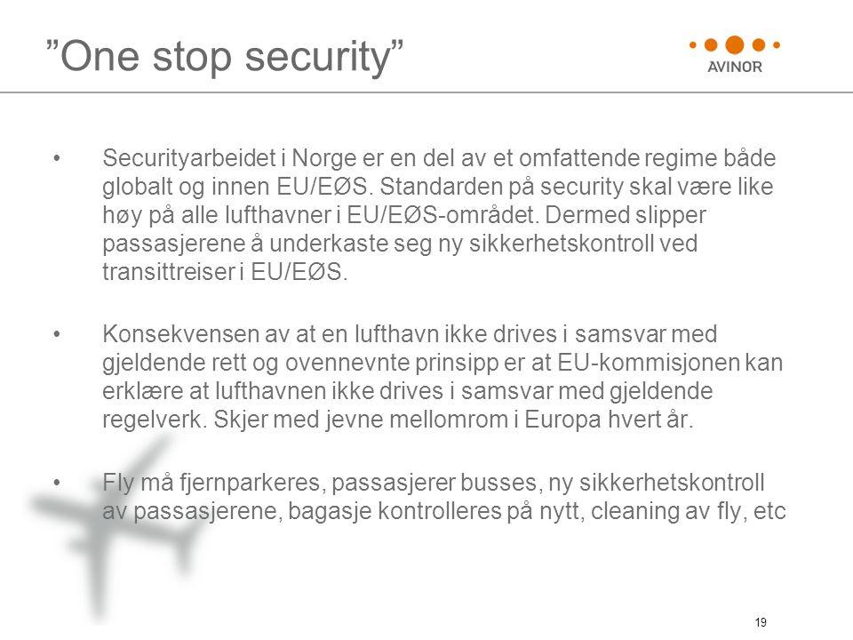 "19 ""One stop security"" •Securityarbeidet i Norge er en del av et omfattende regime både globalt og innen EU/EØS. Standarden på security skal være like"