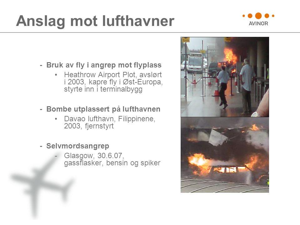 Anslag mot lufthavner - Bruk av fly i angrep mot flyplass • Heathrow Airport Plot, avslørt i 2003, kapre fly i Øst-Europa, styrte inn i terminalbygg - Bombe utplassert på lufthavnen • Davao lufthavn, Filippinene, 2003, fjernstyrt - Selvmordsangrep -Glasgow, 30.6.07, gassflasker, bensin og spiker