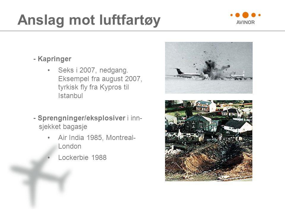 Anslag mot luftfartøy - Kapringer • Seks i 2007, nedgang. Eksempel fra august 2007, tyrkisk fly fra Kypros til Istanbul - Sprengninger/eksplosiver i i