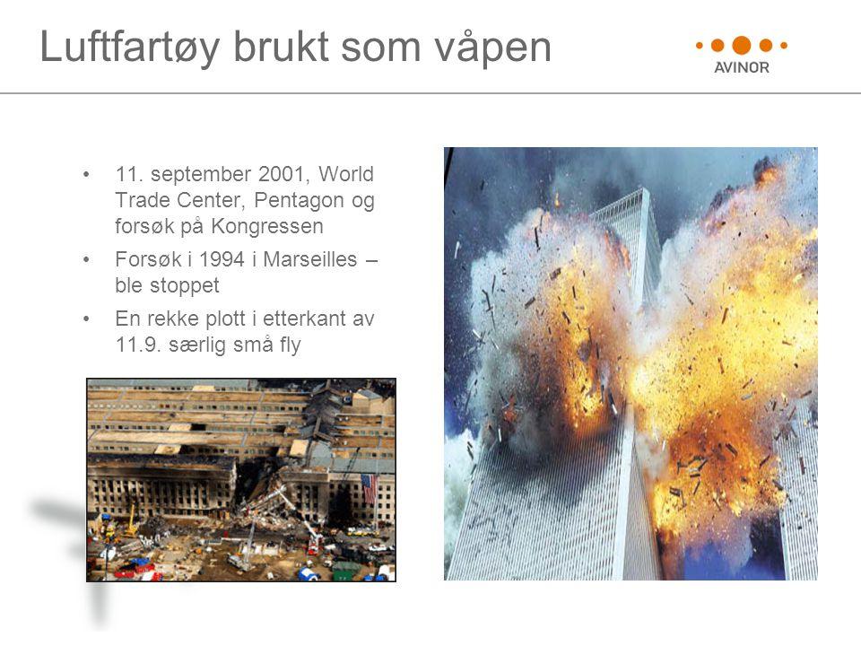 Luftfartøy brukt som våpen • 11. september 2001, World Trade Center, Pentagon og forsøk på Kongressen • Forsøk i 1994 i Marseilles – ble stoppet • En