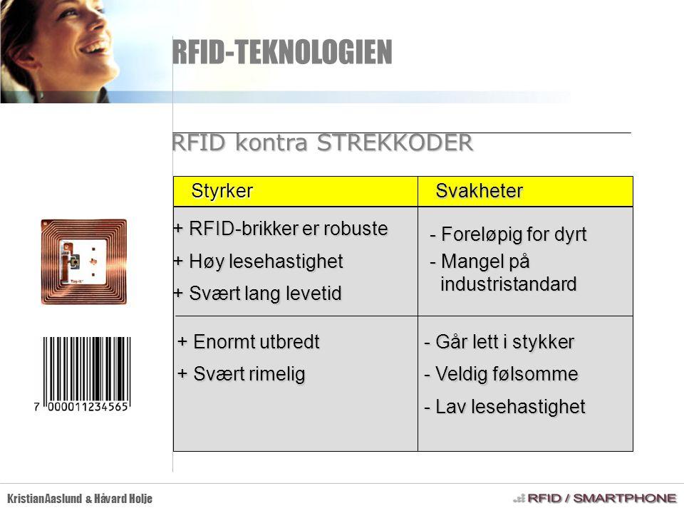 RFID-TEKNOLOGIEN Kristian Aaslund & Håvard Holje RFID kontra STREKKODER + RFID-brikker er robuste + Høy lesehastighet + Svært lang levetid - Foreløpig
