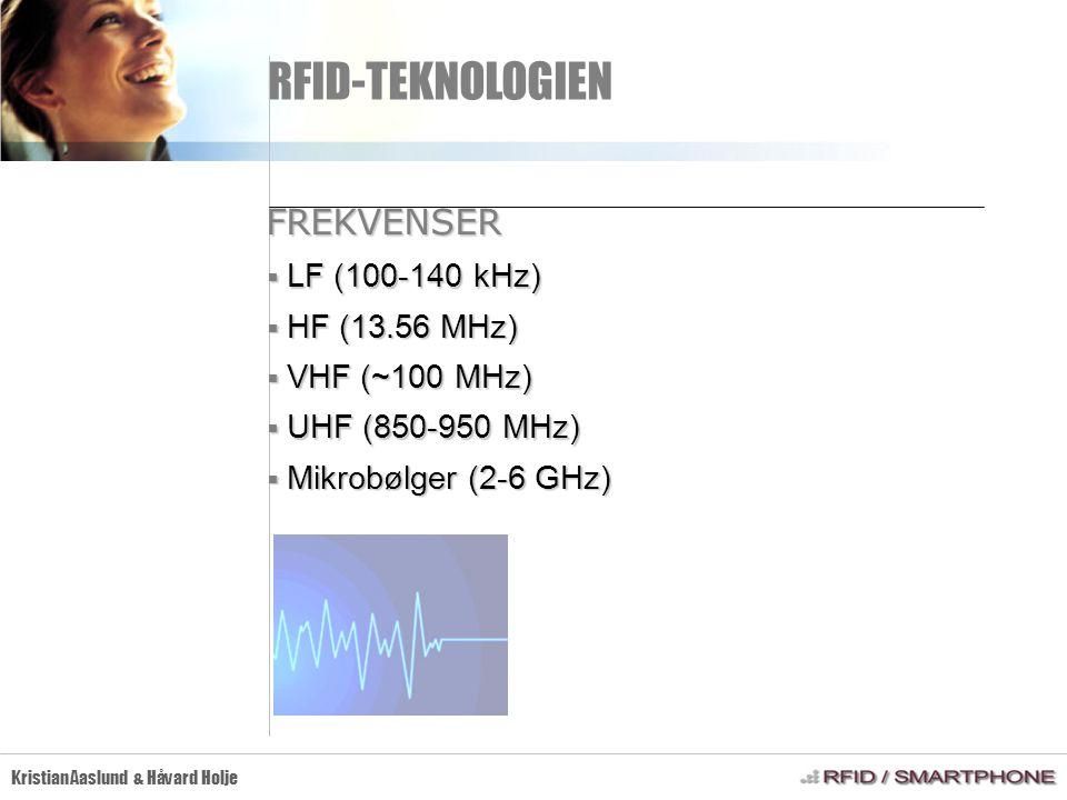 RFID-TEKNOLOGIEN Kristian Aaslund & Håvard Holje FREKVENSER  LF (100-140 kHz)  HF (13.56 MHz)  VHF (~100 MHz)  UHF (850-950 MHz)  Mikrobølger (2-