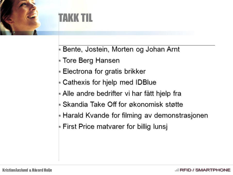 TAKK TIL Kristian Aaslund & Håvard Holje  Bente, Jostein, Morten og Johan Arnt  Tore Berg Hansen  Electrona for gratis brikker  Cathexis for hjelp