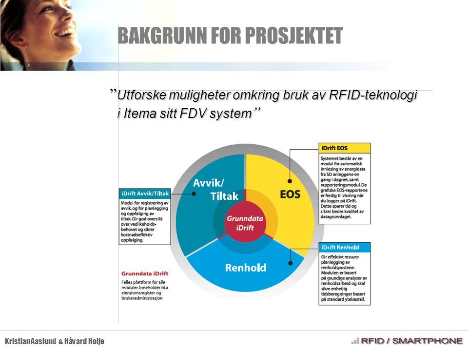 PROBLEMSTILLING Kristian Aaslund & Håvard Holje  Kartlegge RFID-teknologien - teknologisøk  Utvikle mobil Java applikasjon som kommuniserer med en egnet RFID-leser med en egnet RFID-leser  Effektivisere avviksregistrering