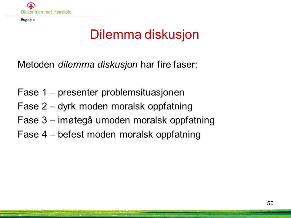 Dilemma diskusjon Metoden dilemma diskusjon har fire faser: Fase 1 – presenter problemsituasjonen Fase 2 – dyrk moden moralsk oppfatning Fase 3 – imøt