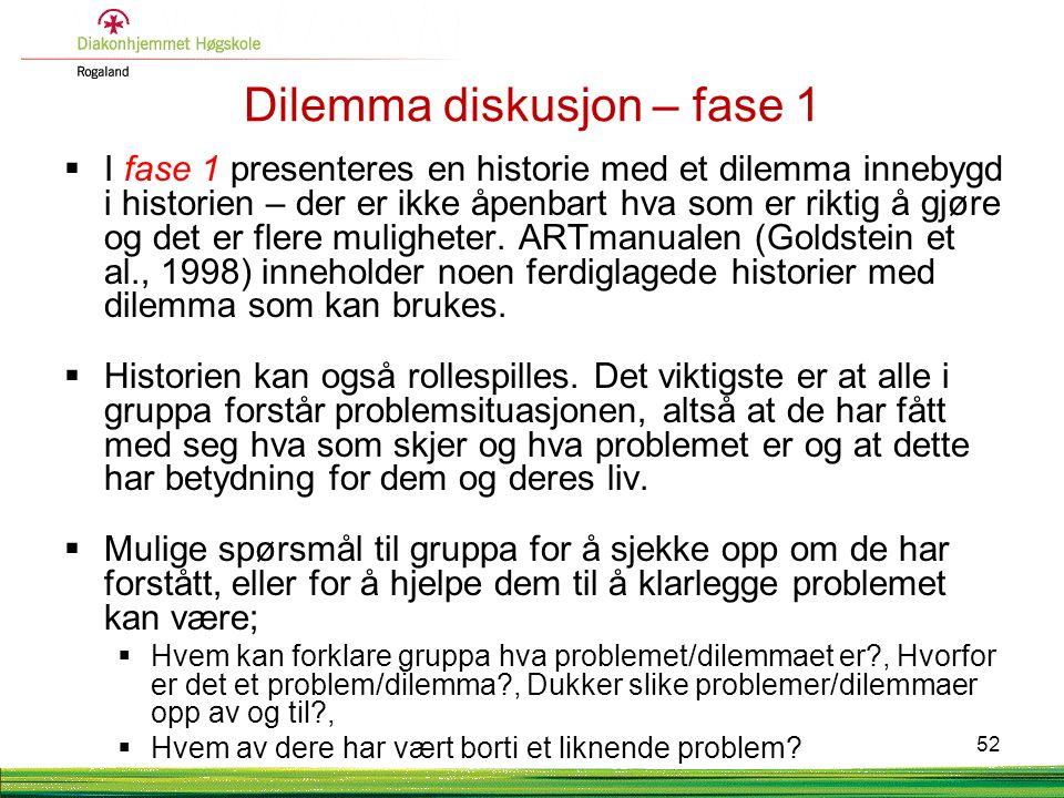 Dilemma diskusjon – fase 1  I fase 1 presenteres en historie med et dilemma innebygd i historien – der er ikke åpenbart hva som er riktig å gjøre og