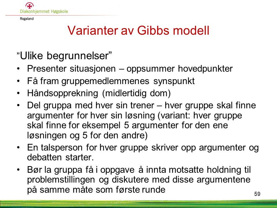 """Varianter av Gibbs modell """" Ulike begrunnelser"""" •Presenter situasjonen – oppsummer hovedpunkter •Få fram gruppemedlemmenes synspunkt •Håndsopprekning"""
