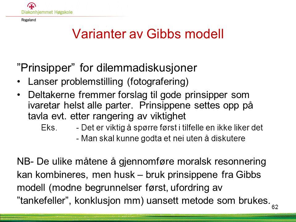 """Varianter av Gibbs modell """"Prinsipper"""" for dilemmadiskusjoner •Lanser problemstilling (fotografering) •Deltakerne fremmer forslag til gode prinsipper"""