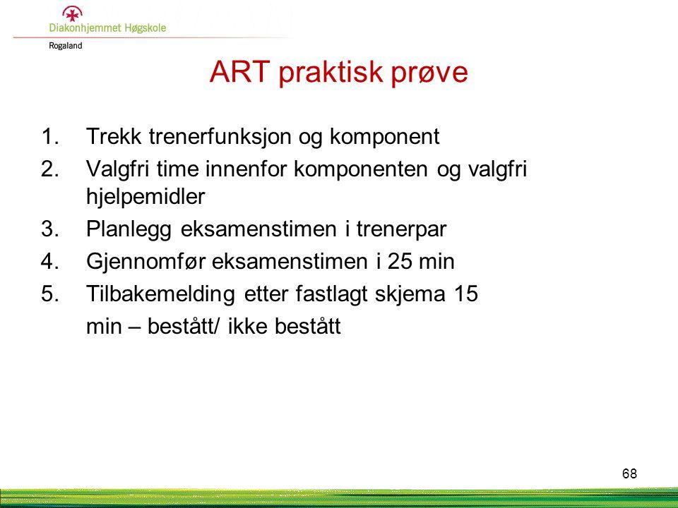 ART praktisk prøve 1.Trekk trenerfunksjon og komponent 2.Valgfri time innenfor komponenten og valgfri hjelpemidler 3.Planlegg eksamenstimen i trenerpa