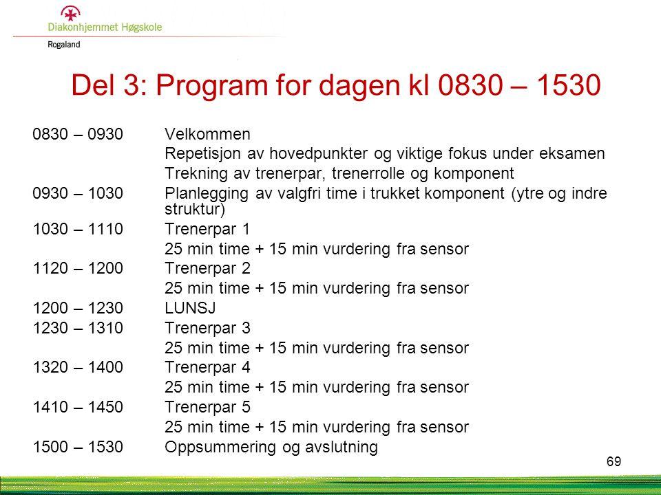 Del 3: Program for dagen kl 0830 – 1530 0830 – 0930 Velkommen Repetisjon av hovedpunkter og viktige fokus under eksamen Trekning av trenerpar, trenerr