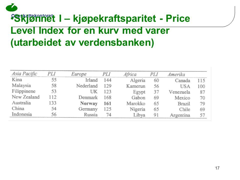Oljeskattekontoret 17 •Skjønnet I – kjøpekraftsparitet - Price Level Index for en kurv med varer (utarbeidet av verdensbanken)
