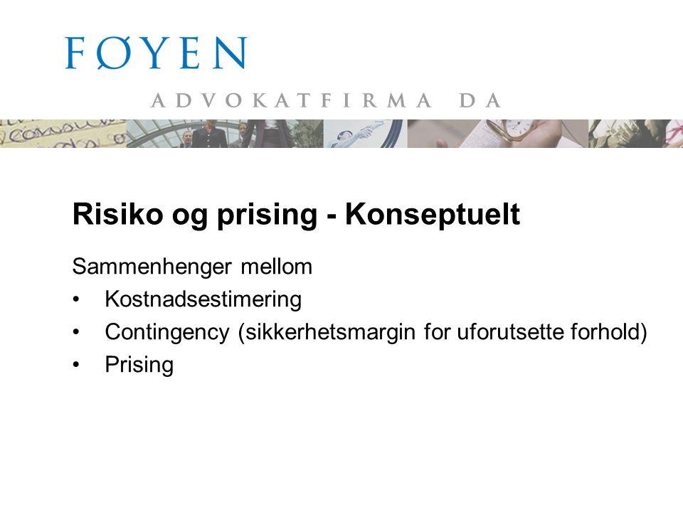 Risiko og prising - Konseptuelt Sammenhenger mellom •Kostnadsestimering •Contingency (sikkerhetsmargin for uforutsette forhold) •Prising