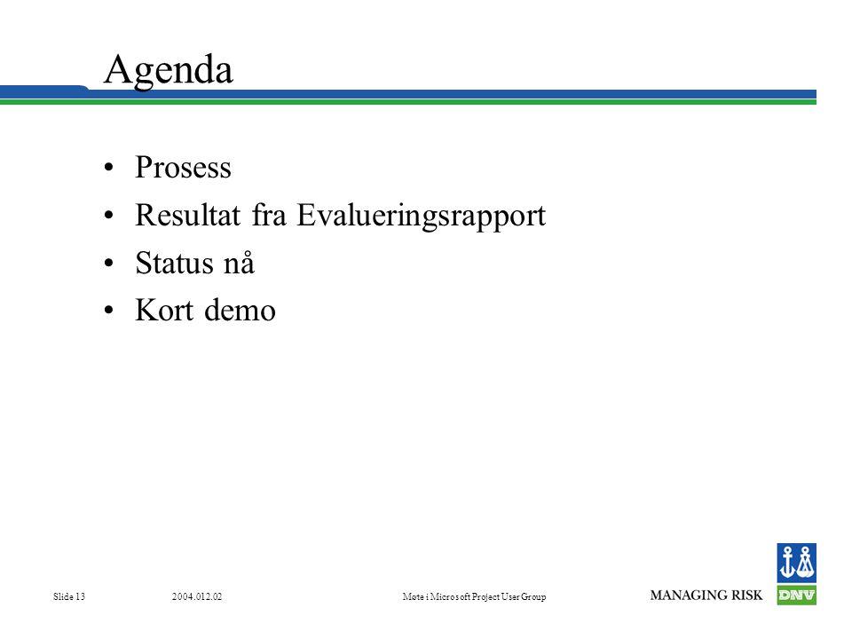 2004.012.02Møte i Microsoft Project User Group Slide 13 Agenda •Prosess •Resultat fra Evalueringsrapport •Status nå •Kort demo