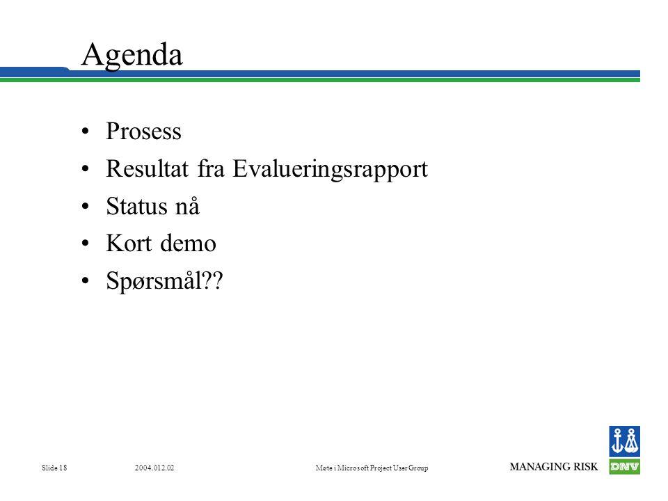 2004.012.02Møte i Microsoft Project User Group Slide 18 Agenda •Prosess •Resultat fra Evalueringsrapport •Status nå •Kort demo •Spørsmål