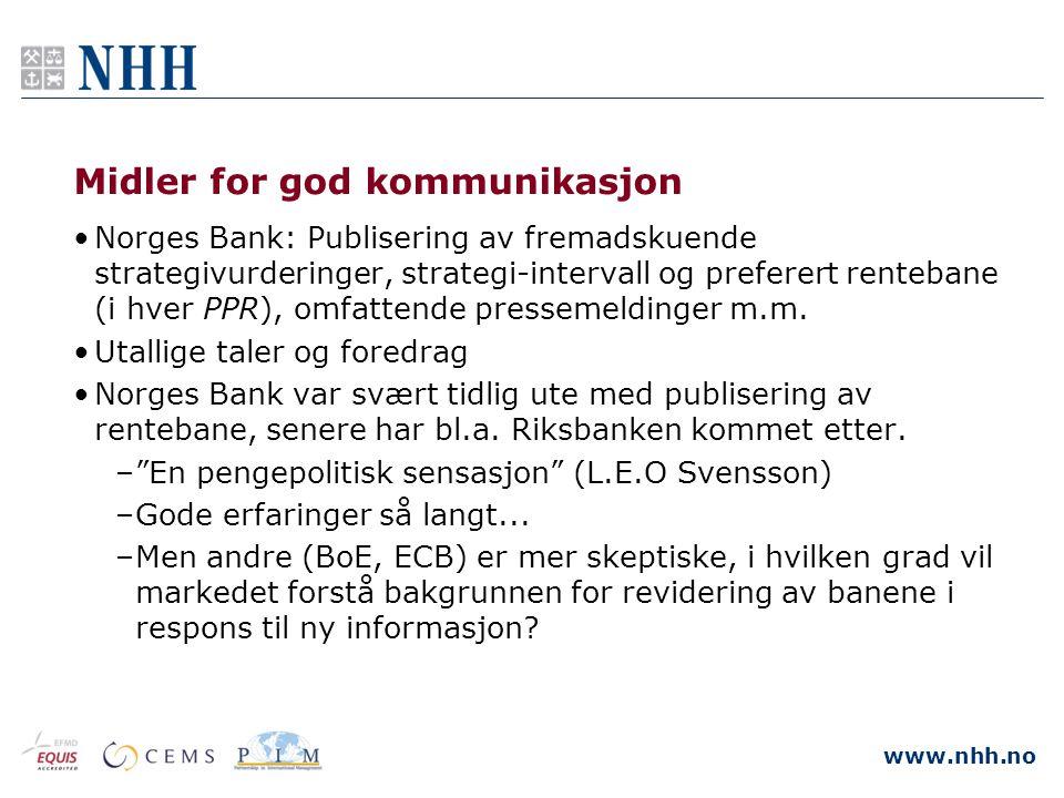 www.nhh.no Midler for god kommunikasjon •Norges Bank: Publisering av fremadskuende strategivurderinger, strategi-intervall og preferert rentebane (i h