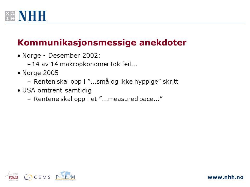 """www.nhh.no Kommunikasjonsmessige anekdoter •Norge - Desember 2002: –14 av 14 makroøkonomer tok feil... •Norge 2005 – Renten skal opp i """"...små og ikke"""