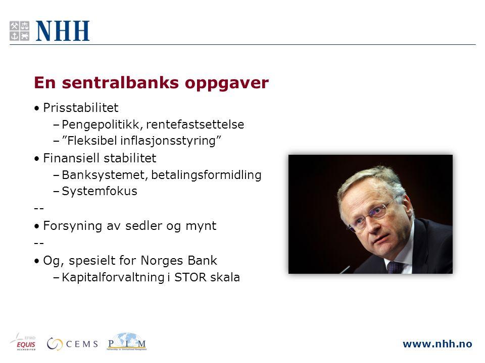 """www.nhh.no En sentralbanks oppgaver •Prisstabilitet –Pengepolitikk, rentefastsettelse –""""Fleksibel inflasjonsstyring"""" •Finansiell stabilitet –Banksyste"""