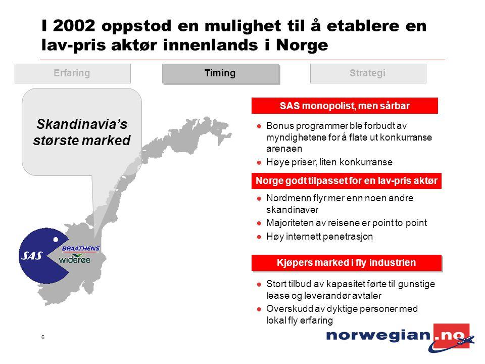 6 I 2002 oppstod en mulighet til å etablere en lav-pris aktør innenlands i Norge ●Nordmenn flyr mer enn noen andre skandinaver ●Majoriteten av reisene
