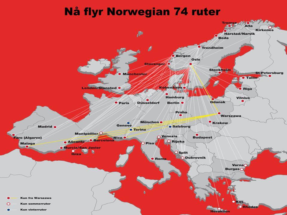 Nå flyr Norwegian 74 ruter