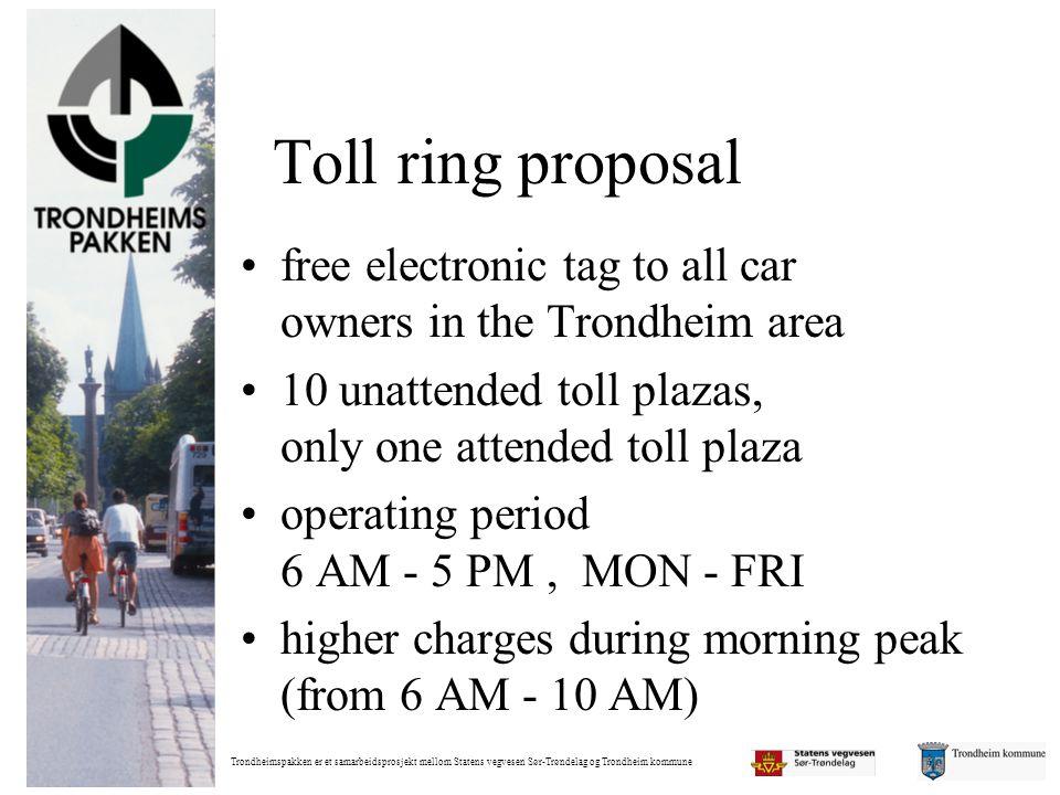 Trondheimspakken er et samarbeidsprosjekt mellom Statens vegvesen Sør-Trøndelag og Trondheim kommune Toll ring proposal •free electronic tag to all ca