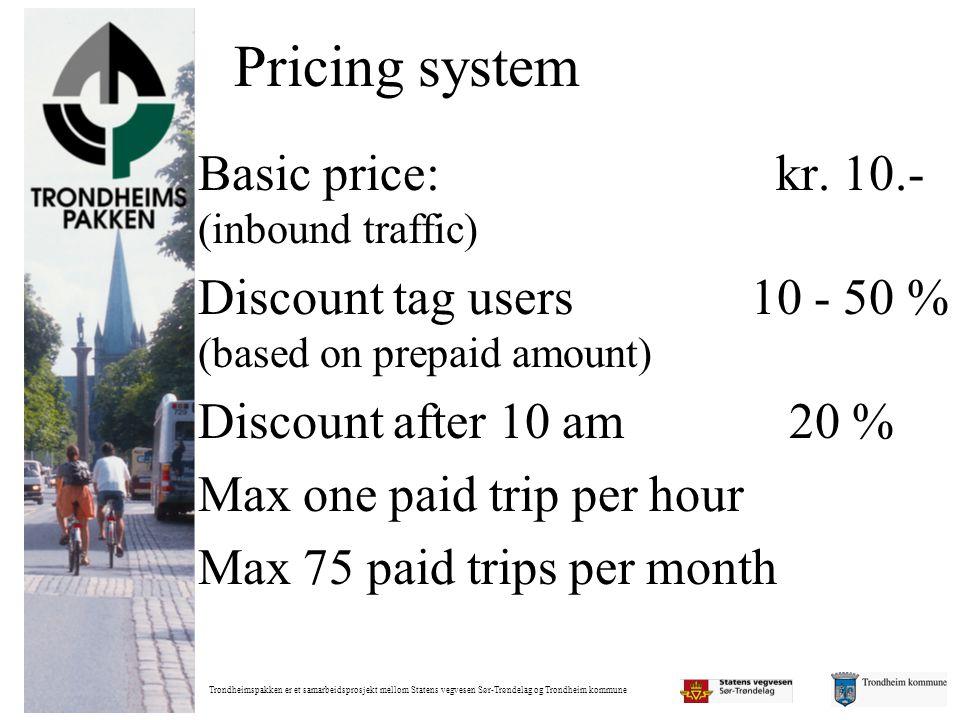 Trondheimspakken er et samarbeidsprosjekt mellom Statens vegvesen Sør-Trøndelag og Trondheim kommune Pricing system Basic price: kr. 10.- (inbound tra