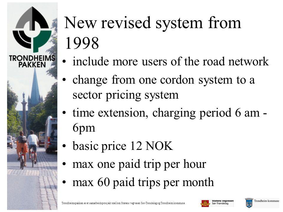 Trondheimspakken er et samarbeidsprosjekt mellom Statens vegvesen Sør-Trøndelag og Trondheim kommune New revised system from 1998 •include more users