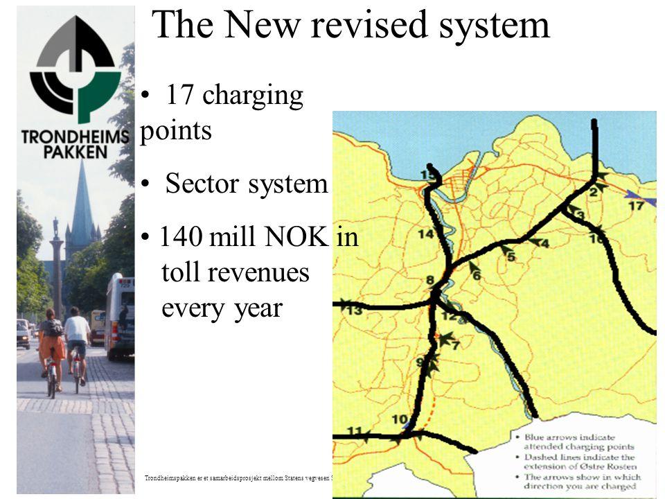 Trondheimspakken er et samarbeidsprosjekt mellom Statens vegvesen Sør-Trøndelag og Trondheim kommune The New revised system • 17 charging points • Sec