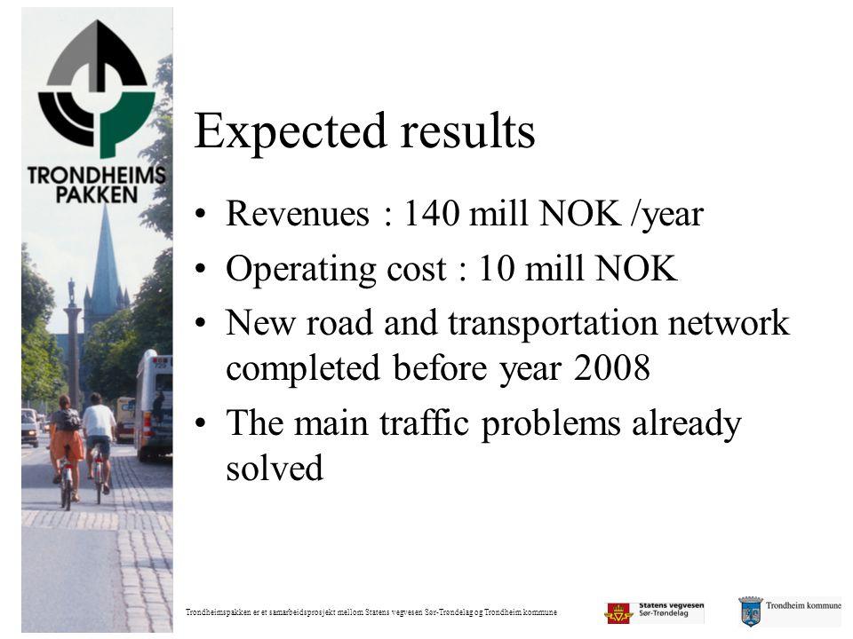 Trondheimspakken er et samarbeidsprosjekt mellom Statens vegvesen Sør-Trøndelag og Trondheim kommune Expected results •Revenues : 140 mill NOK /year •