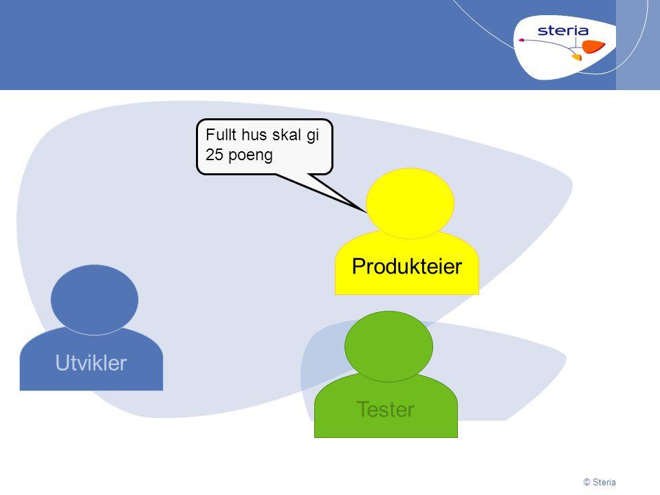 | 29/06/2014Presentation titlep30 © Steria Utvikler Produkteier Tester Fullt hus skal gi 25 poeng