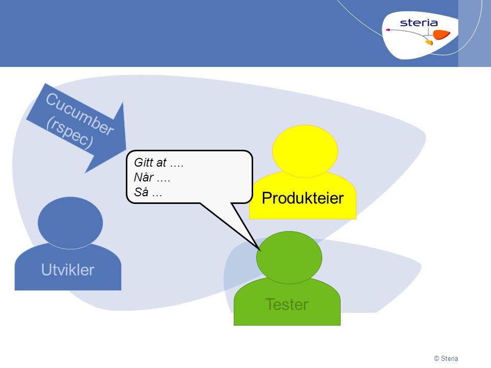 © Steria | 29/06/2014Presentation titlep32 © Steria Utvikler Produkteier Tester Gitt at....