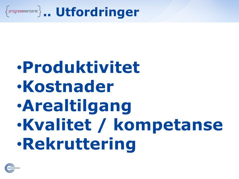.. Utfordringer • Produktivitet • Kostnader • Arealtilgang • Kvalitet / kompetanse • Rekruttering
