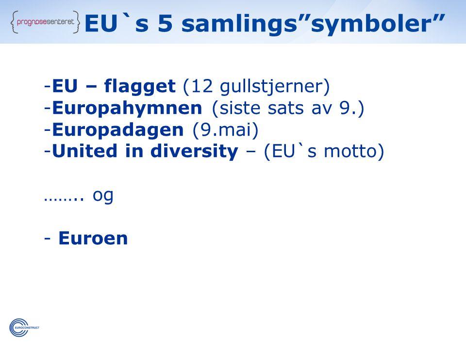 EU`s 5 samlings symboler -EU – flagget (12 gullstjerner) -Europahymnen (siste sats av 9.) -Europadagen (9.mai) -United in diversity – (EU`s motto) ……..