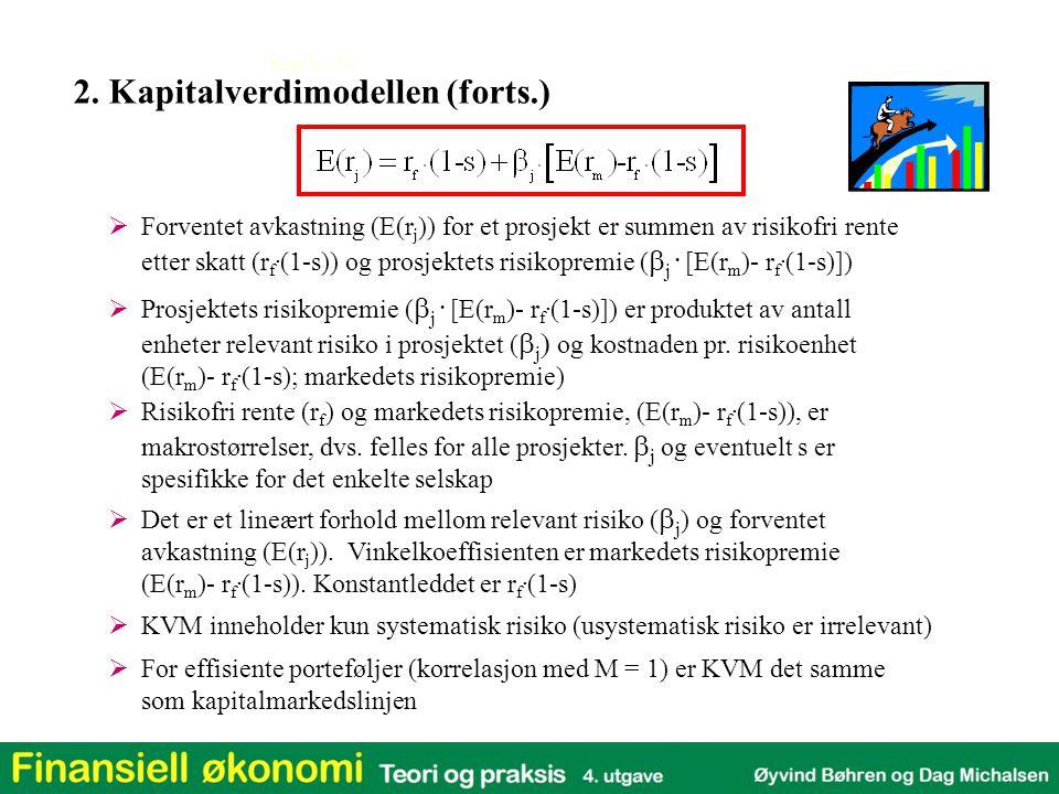Kap 3 - 14 2. Kapitalverdimodellen (forts.)  Forventet avkastning (E(r j )) for et prosjekt er summen av risikofri rente etter skatt (r f. (1-s)) og
