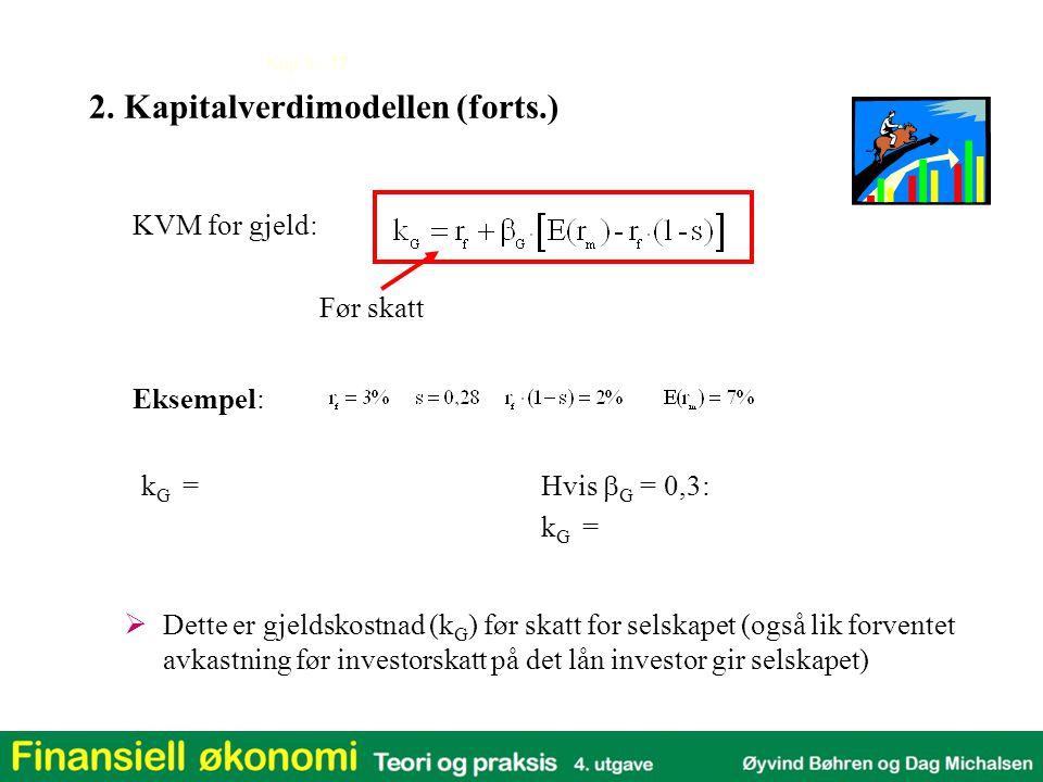 Kap 3 - 17 Eksempel: KVM for gjeld: Før skatt  Dette er gjeldskostnad (k G ) før skatt for selskapet (også lik forventet avkastning før investorskatt