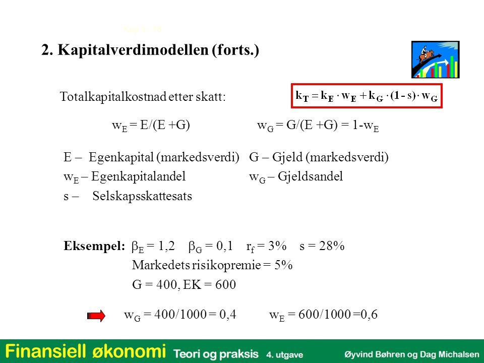 Kap 3 - 18 Totalkapitalkostnad etter skatt: w G = 400/1000 = 0,4w E = 600/1000 =0,6 w E = E/(E +G)w G = G/(E +G) = 1-w E Eksempel:  E = 1,2  G = 0,1