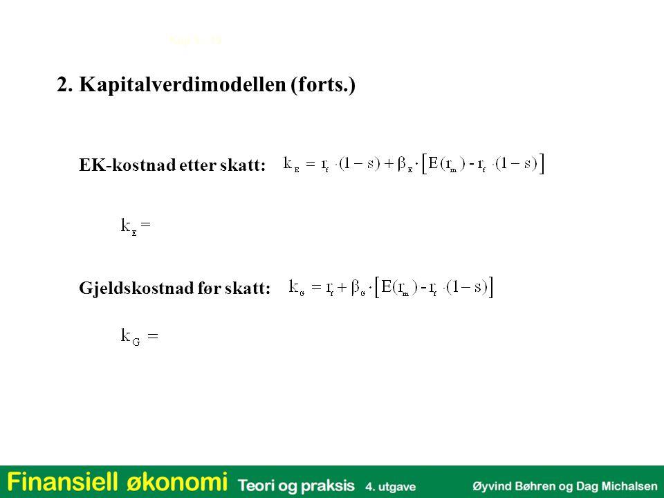 Kap 3 - 19 EK-kostnad etter skatt: Gjeldskostnad før skatt: 2. Kapitalverdimodellen (forts.)