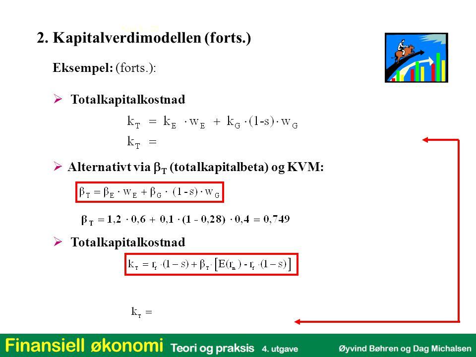 Kap 3 - 20  Totalkapitalkostnad Eksempel: (forts.):  Totalkapitalkostnad  Alternativt via    (totalkapitalbeta)  og KVM: 2. Kapitalverdimodelle