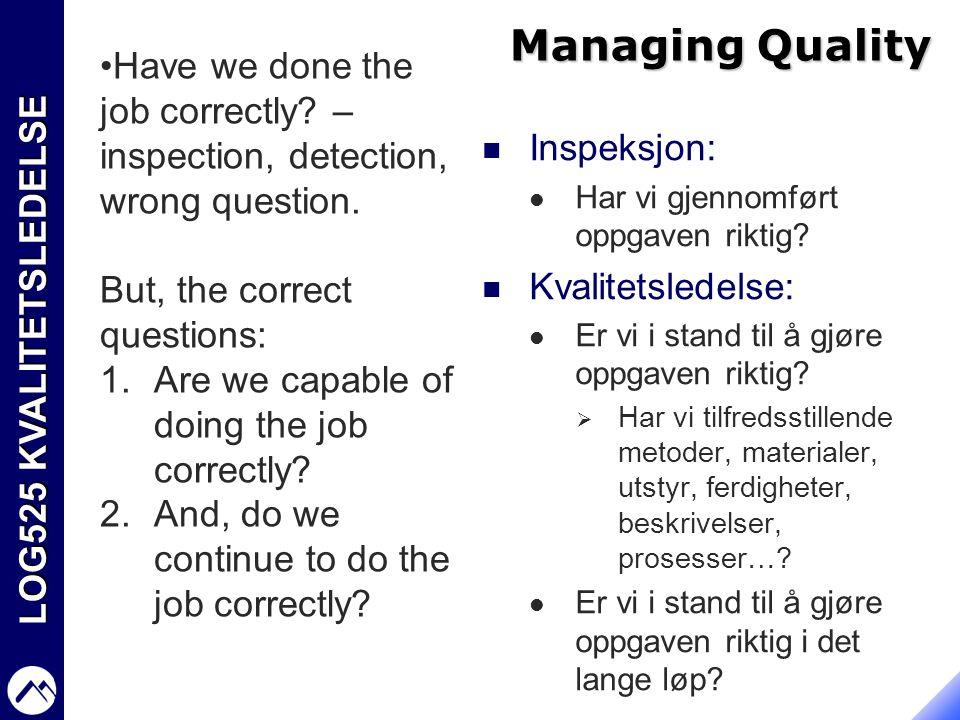 LOG525 KVALITETSLEDELSE Managing Quality  Inspeksjon:  Har vi gjennomført oppgaven riktig?  Kvalitetsledelse:  Er vi i stand til å gjøre oppgaven