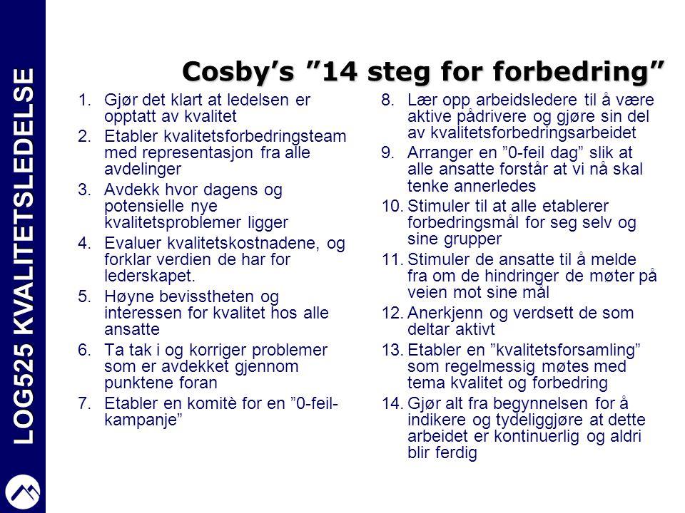 """LOG525 KVALITETSLEDELSE Cosby's """"14 steg for forbedring"""" 1.Gjør det klart at ledelsen er opptatt av kvalitet 2.Etabler kvalitetsforbedringsteam med re"""