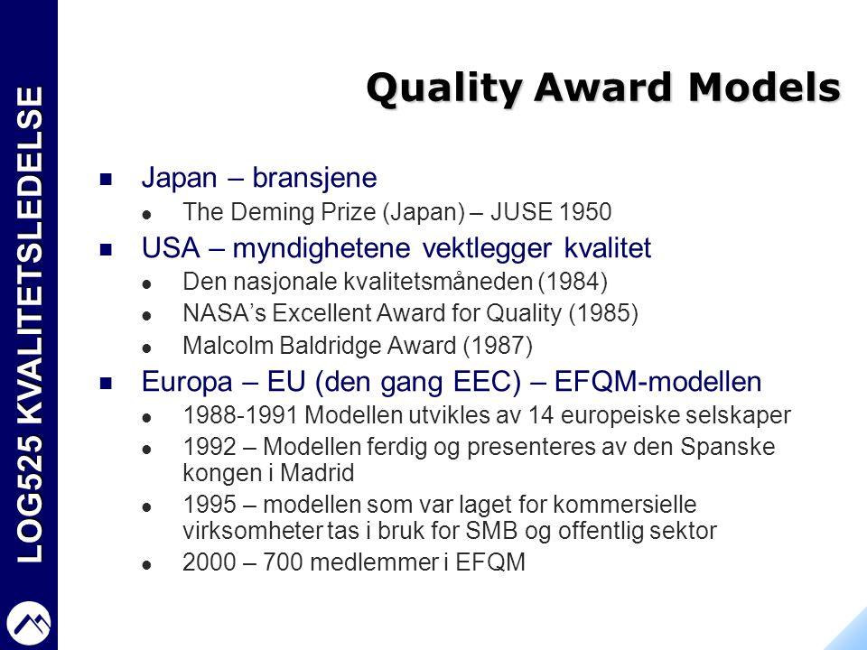 LOG525 KVALITETSLEDELSE Quality Award Models  Japan – bransjene  The Deming Prize (Japan) – JUSE 1950  USA – myndighetene vektlegger kvalitet  Den