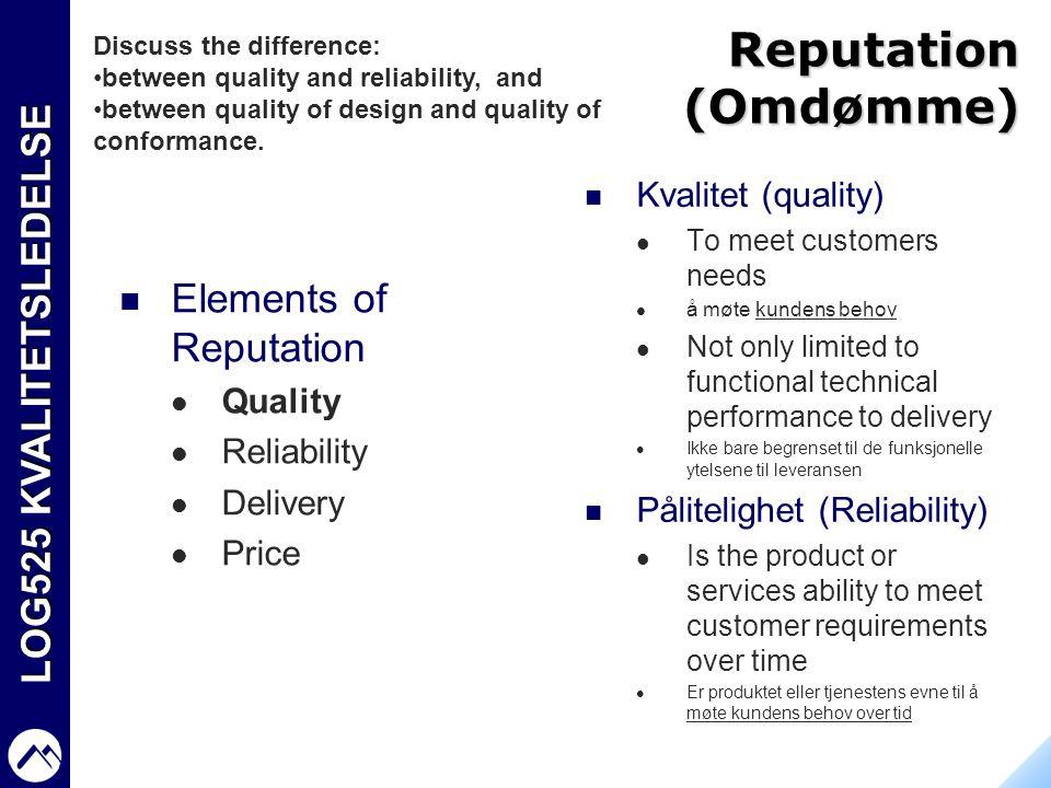 LOG525 KVALITETSLEDELSE Reputation (Omdømme)  Elements of Reputation  Quality  Reliability  Delivery  Price  Kvalitet (quality)  To meet custom