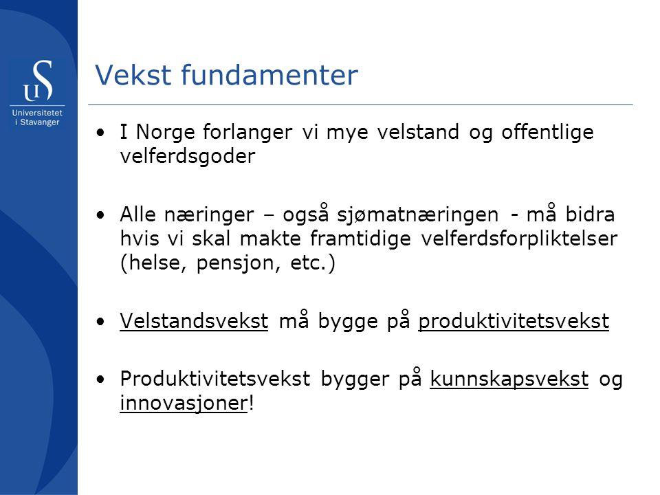 Vekst fundamenter •I Norge forlanger vi mye velstand og offentlige velferdsgoder •Alle næringer – også sjømatnæringen - må bidra hvis vi skal makte framtidige velferdsforpliktelser (helse, pensjon, etc.) •Velstandsvekst må bygge på produktivitetsvekst •Produktivitetsvekst bygger på kunnskapsvekst og innovasjoner!